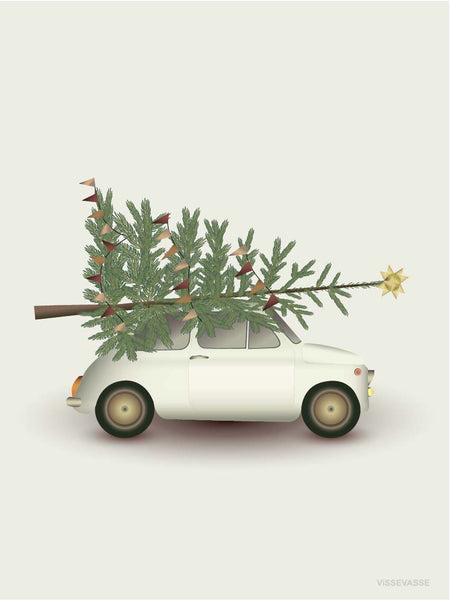 Christmas tree and little car poster from Vissevasse