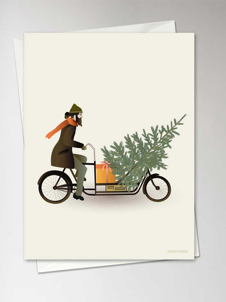 Bike with Christmas Tree - kort