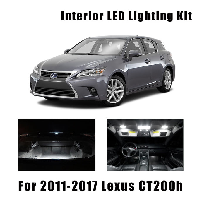 10pcs White Canbus LED Bulbs Interior Map Dome Trunk Light Kit For 2011-2015 2016 2017 Lexus CT200h Plate Vanity Mirror Lamp