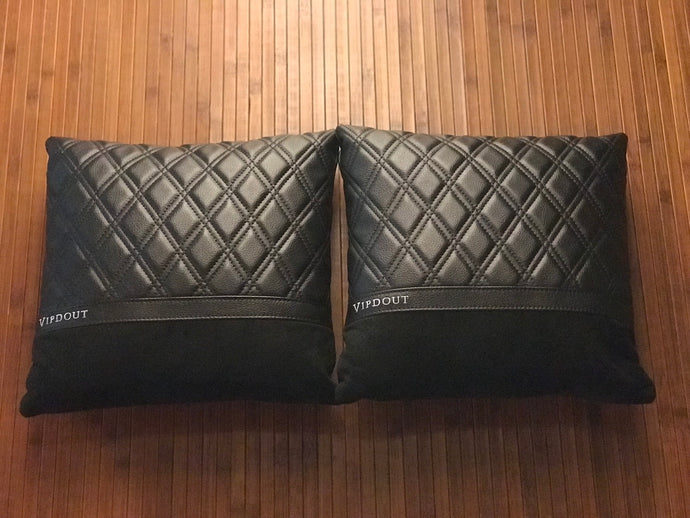 Ready to ship Vipdout Black on black Large Pillows