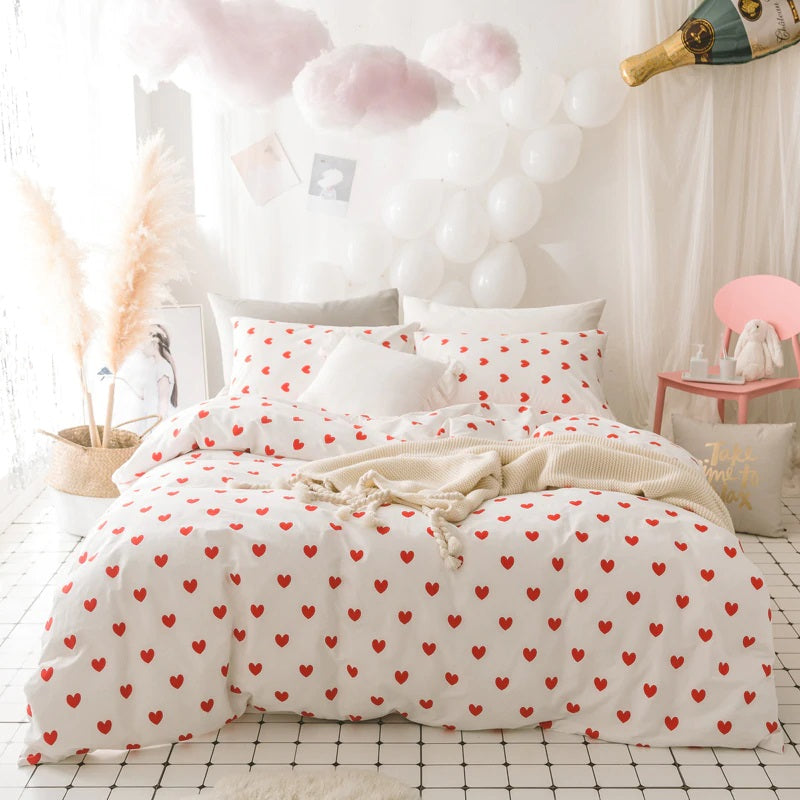 Heart Printed Natural Cotton Bedding Set for Girls
