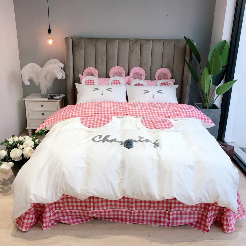 Charming Bedding Set for Girls in Pink and White