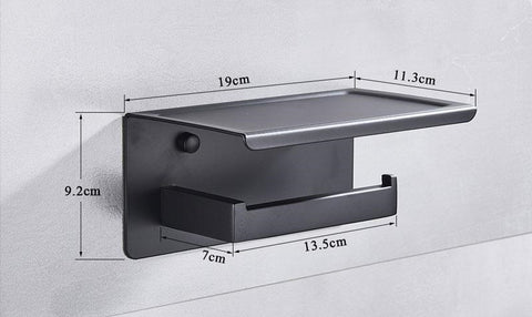 Matte Black Toilet Paper Holder with Shelf