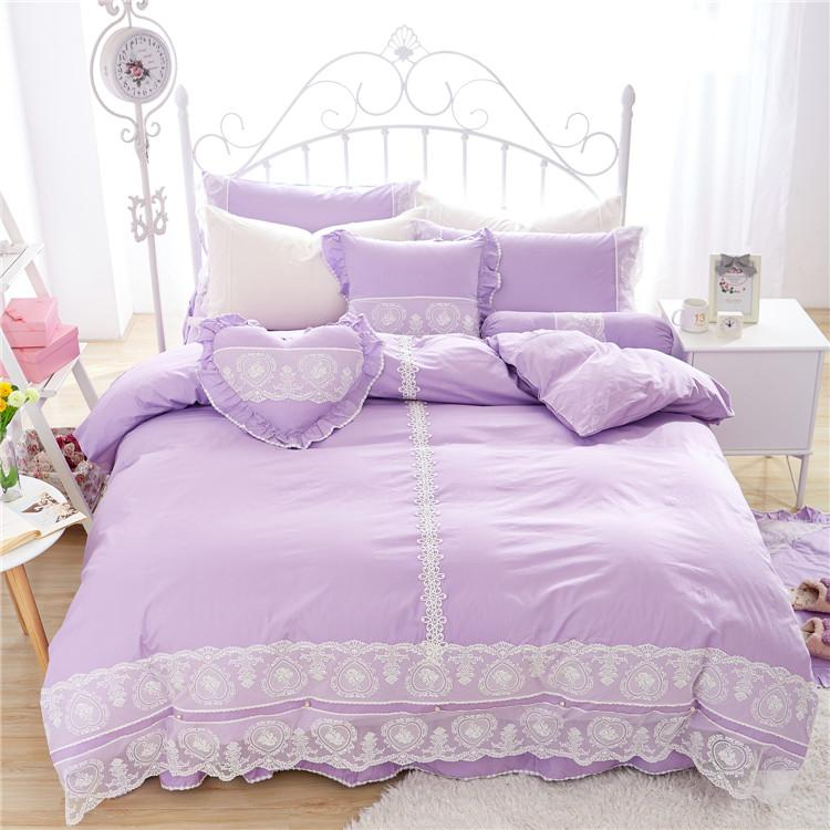 Purple Lace Design Bedding Set for Girls