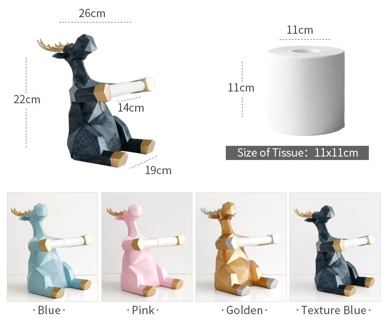 Deer Statue Toilet Paper Roll Holder