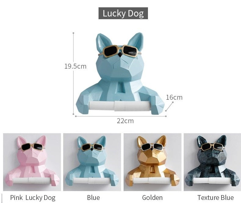 Dog Decorative Toilet Paper Roll Holder Wall Mounted