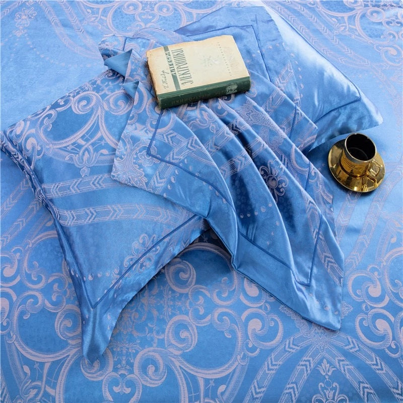 Satin Cotton Bedding Set in Blue on SALE