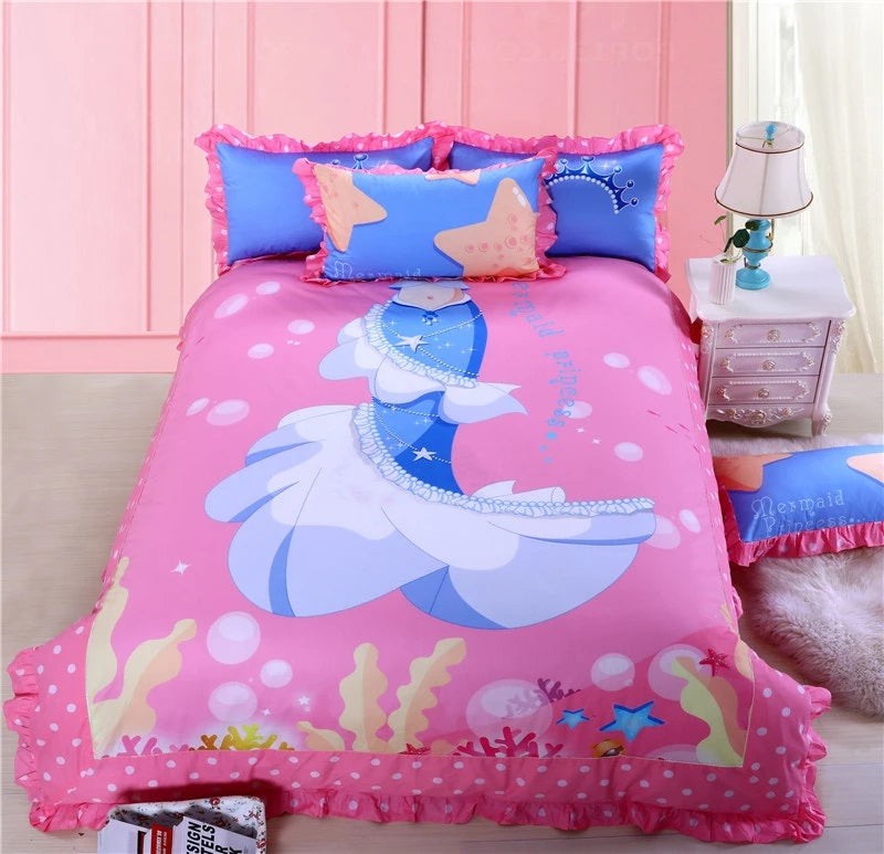 Pink Mermaid Print Bedding Set for Girls