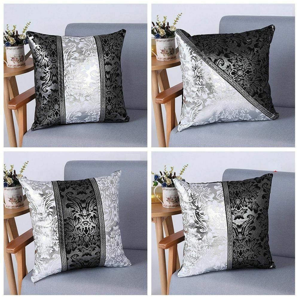 Luxury Europa Decorative Cushion Covers in Silver Black