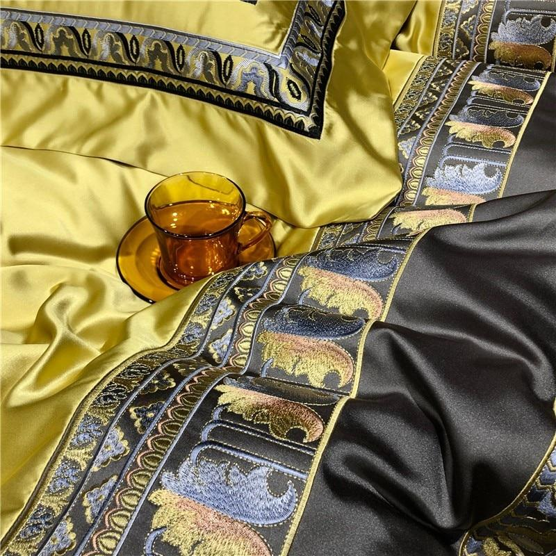Luxury Satin Silk Bedding Set with Embroidery