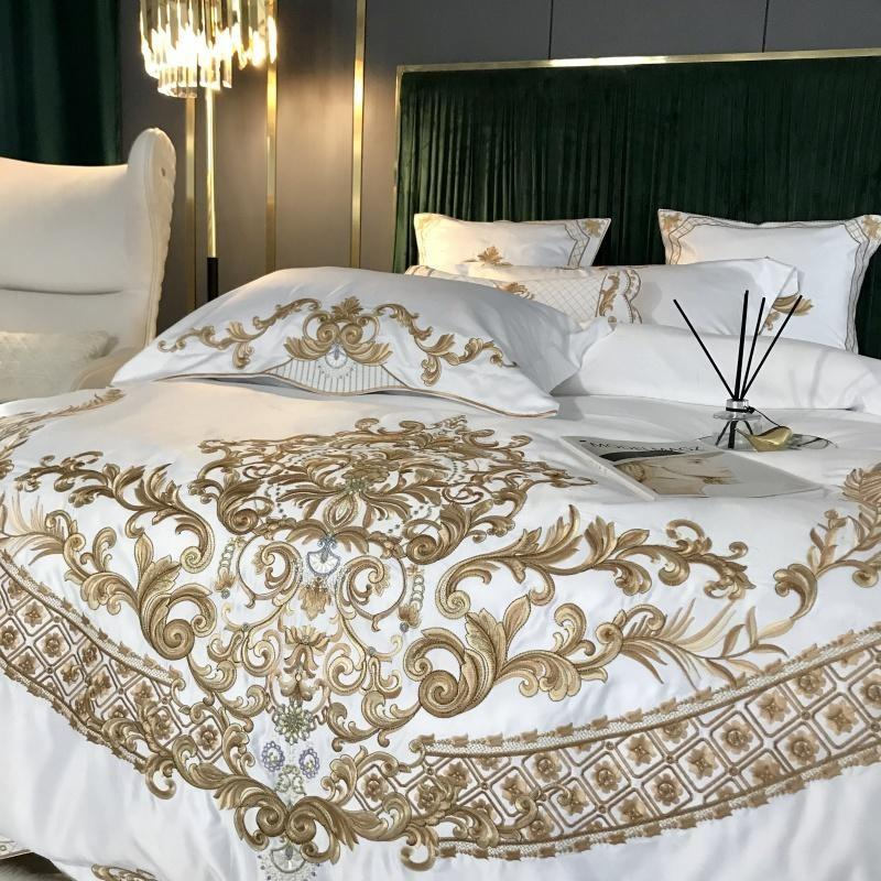 Gold Design Satin Silk Luxury Bedding Set