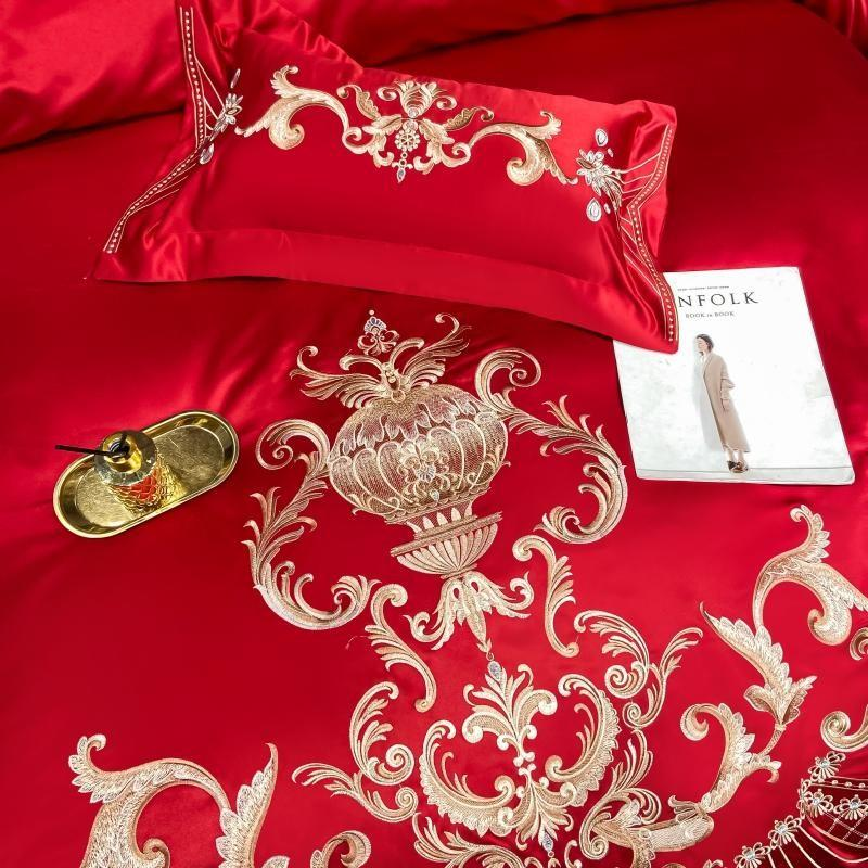 Luxury Embroidery Red Bedding Set