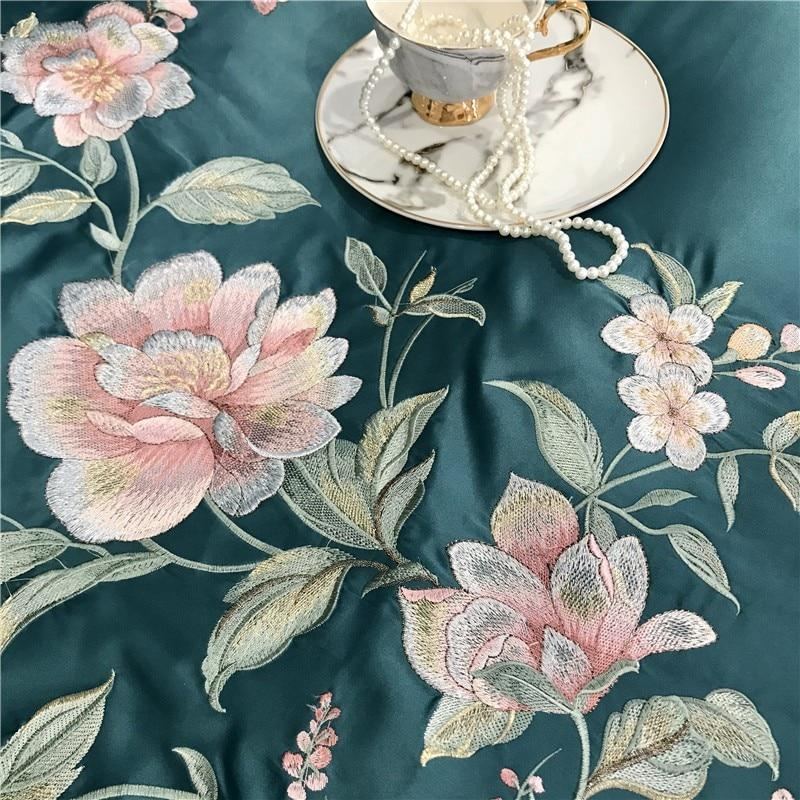 Embroidery Satin Silk Duvet Cover