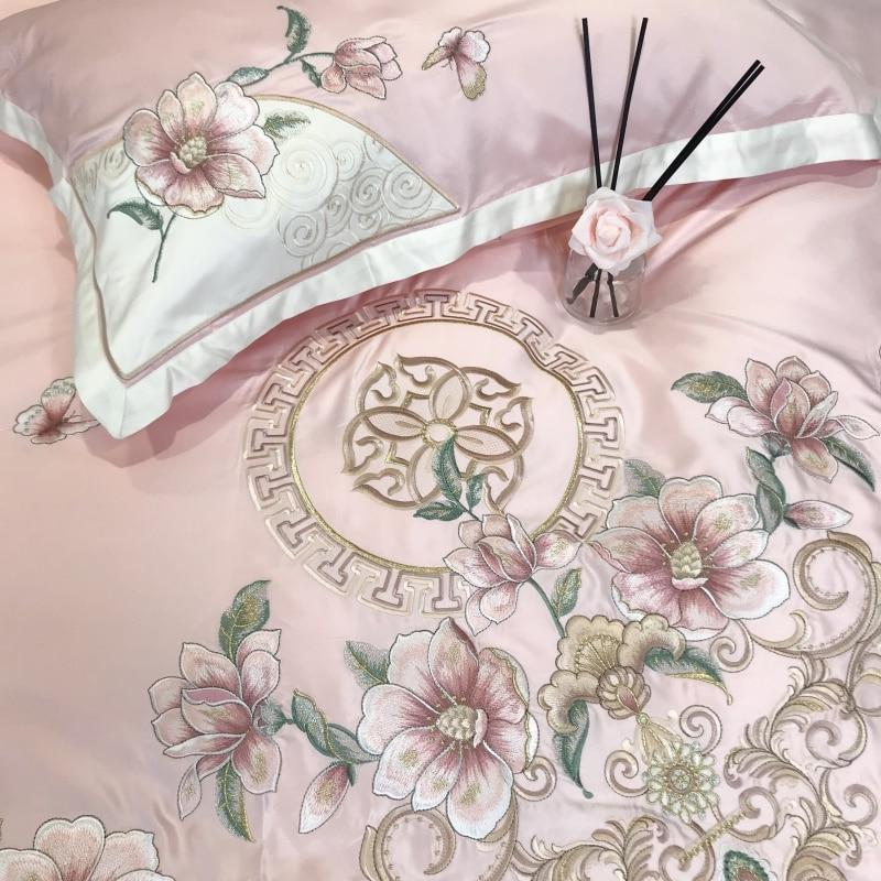 Satin Silk Embroidery Bed Sheet Set