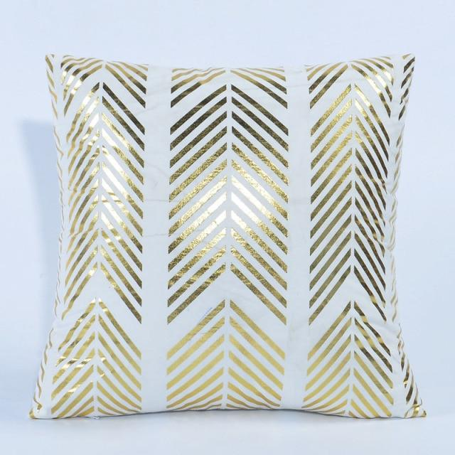 White Gold Decorative Cushion Covers