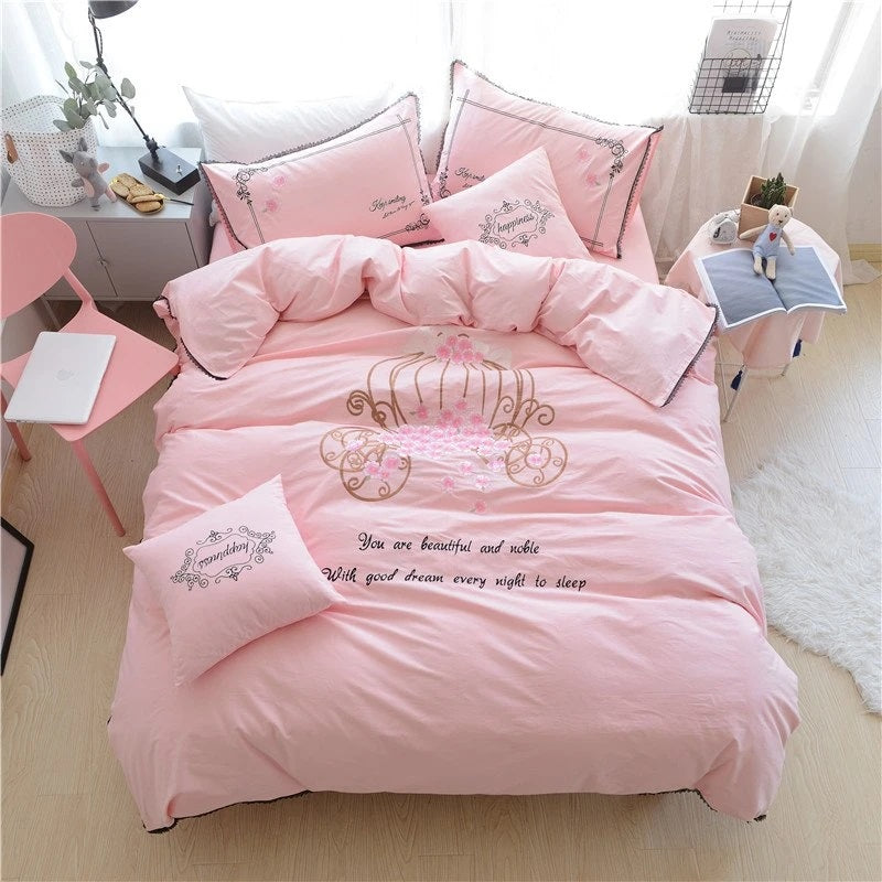 Princess Crown Pink Bedding Set for Girls