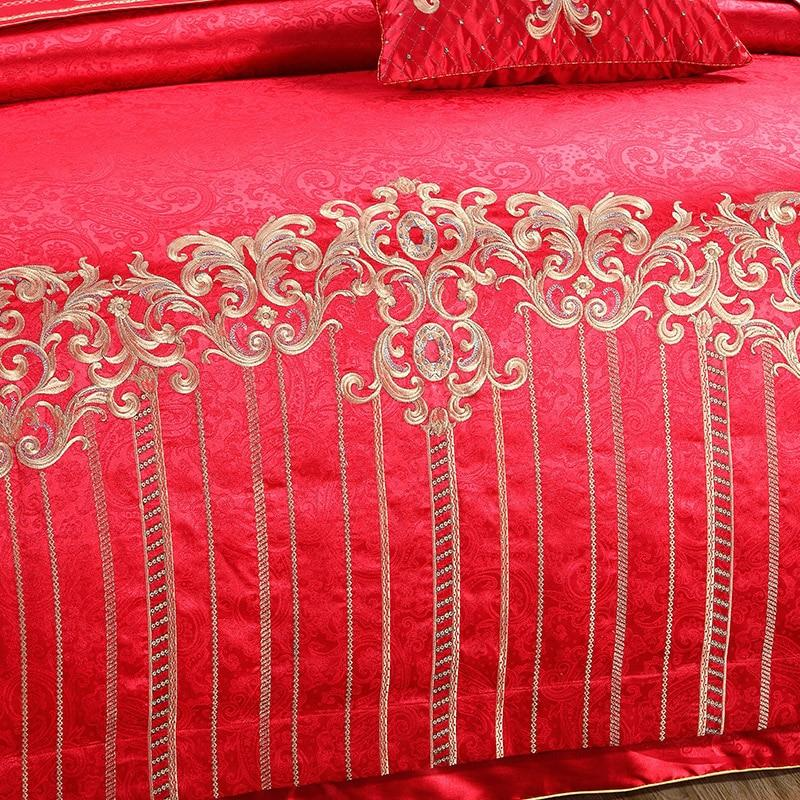 Wedding Bed Set Red in Embroidery for Sale