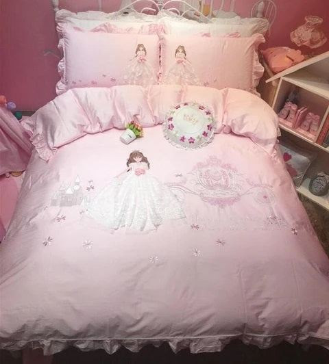 Pink Princess Lace Bedding Set for Girls Bedroom