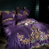1000TC Egyptian Cotton Purple Bedding Set with Embroidery