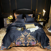 Egyptian Cotton Black Bedding With Embroidery