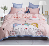 Cute Cat Super Soft Girls Bedding Set