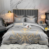 Embroidery Satin Silk Bedding Set