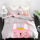 Grey Pink Bunny 100% Cotton Bedding Set