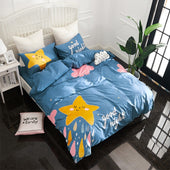 Stars and Clouds 100% Cotton Blue Bedding Set for Kids