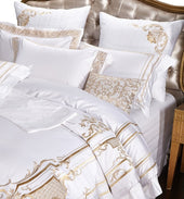 White Luxury Bedding Sets Gold Embroidery