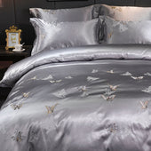 Satin Silk Bedding Set With Embroidery