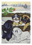 4 Puppies Christmas Cards - 10 cards