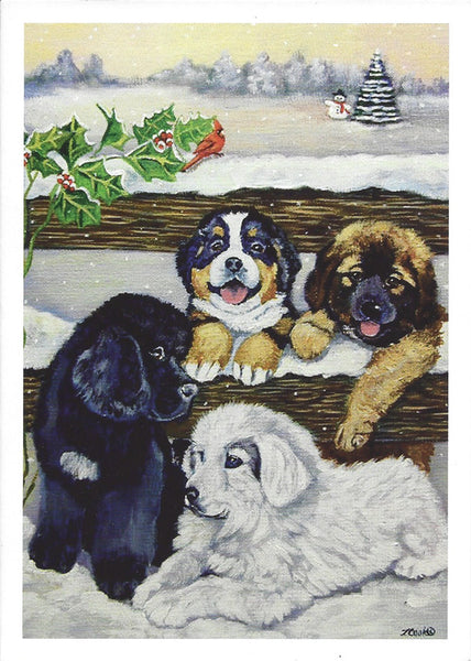 """4 Puppies Christmas Cards - 10 cards"""