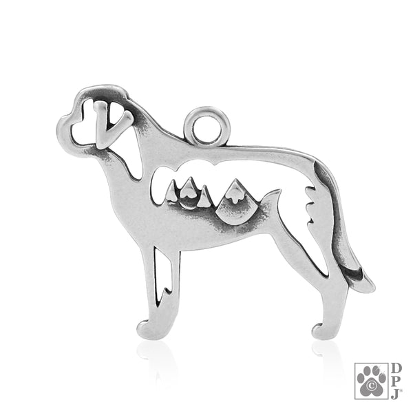 """Sterling Silver Saint Bernard Pendant, w/Mountains in Body"""