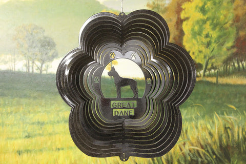 "12"" Great Dane Wind Spinner - Black Starlight"