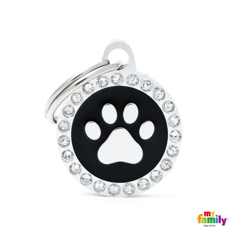 Black Paw Circle Tag