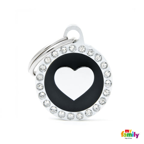 Black Heart Circle Tag