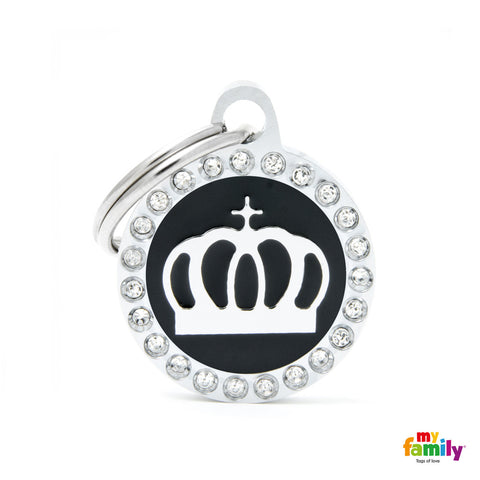 Black Crown Circle Tag