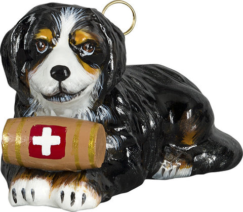 Bernese w/Barrel Glass Ornament
