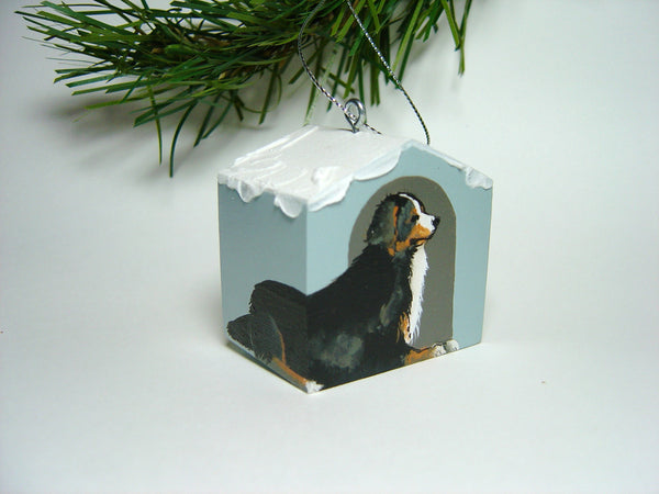 """Hand painted doghouse ornament - Bernese"""