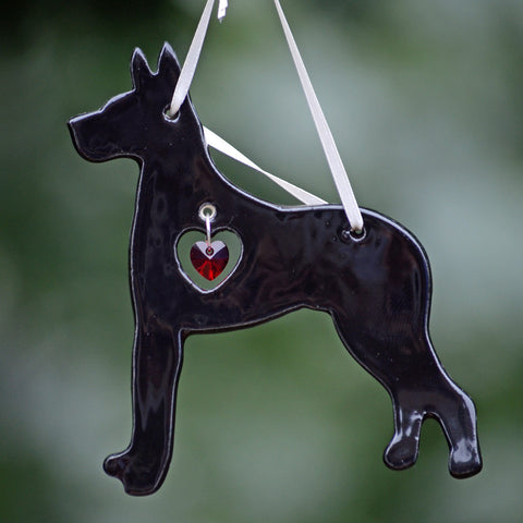 """Porcelain Great Dane Ornament"" - Black"