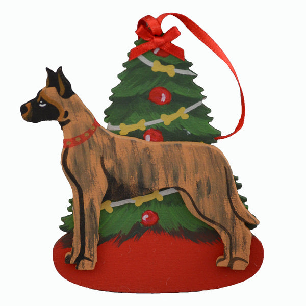 Decorated Tree & Great Dane Ornament - Brindle