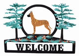 Hand Painted Great Dane Welcome Sign - Brindle