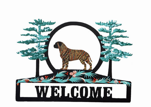 Hand Painted Bullmastiff Welcome Sign - Brindle