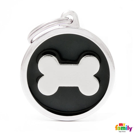 Black Bone Circle Tag