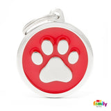 Red Paw Circle Tag