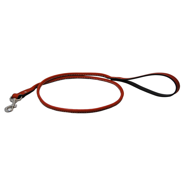 "48"" Rolled Leather Snap Leash - RED"