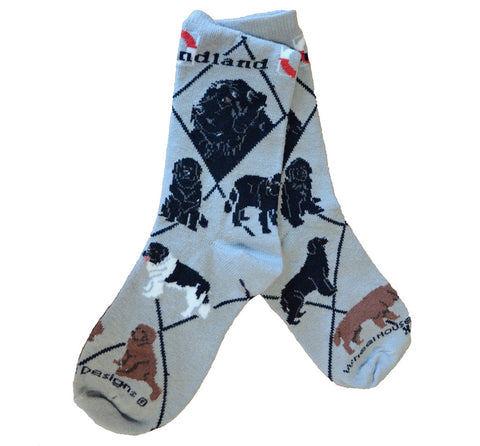 Newfoundland Dog Socks on Gray