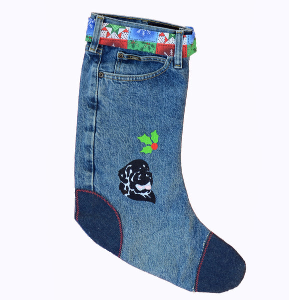 Denim Christmas Stocking - Newf (1 of a kind)