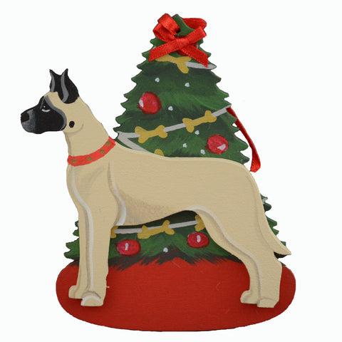 Decorated Tree & Great Dane Ornament - Fawn