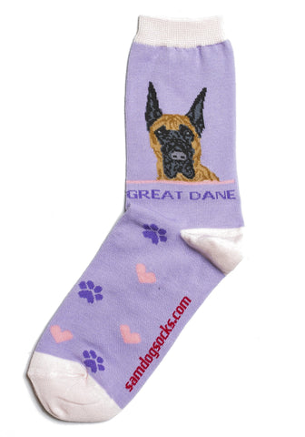 Great Dane socks for women - purple & pink